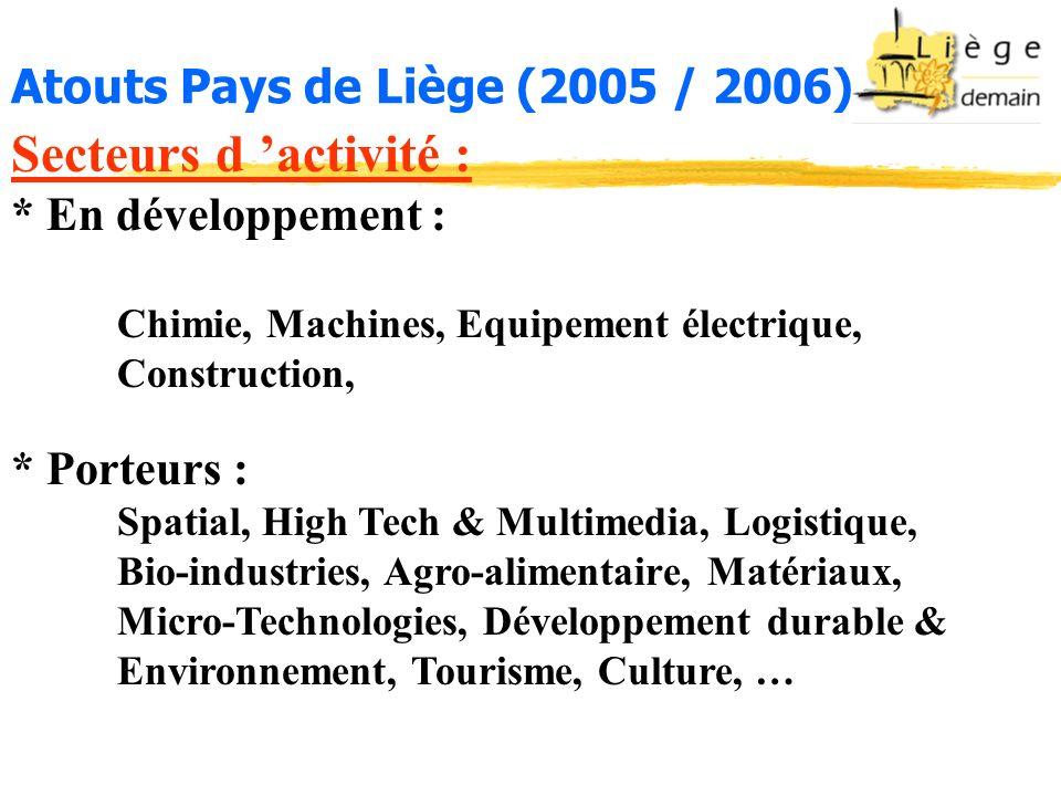 Secteurs d activité : * En développement : Chimie, Machines, Equipement électrique, Construction, * Porteurs : Spatial, High Tech & Multimedia, Logist