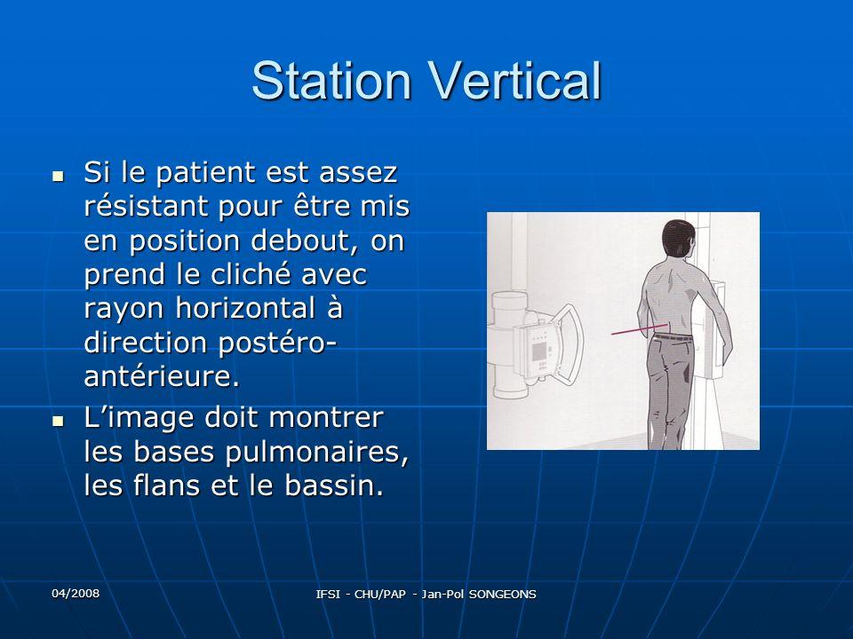 04/2008 IFSI - CHU/PAP - Jan-Pol SONGEONS Station Vertical Si le patient est assez résistant pour être mis en position debout, on prend le cliché avec rayon horizontal à direction postéro- antérieure.