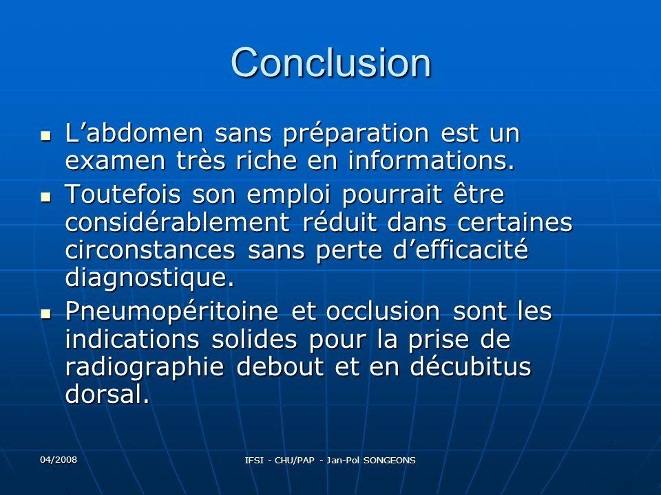 04/2008 IFSI - CHU/PAP - Jan-Pol SONGEONS Conclusion Labdomen sans préparation est un examen très riche en informations.