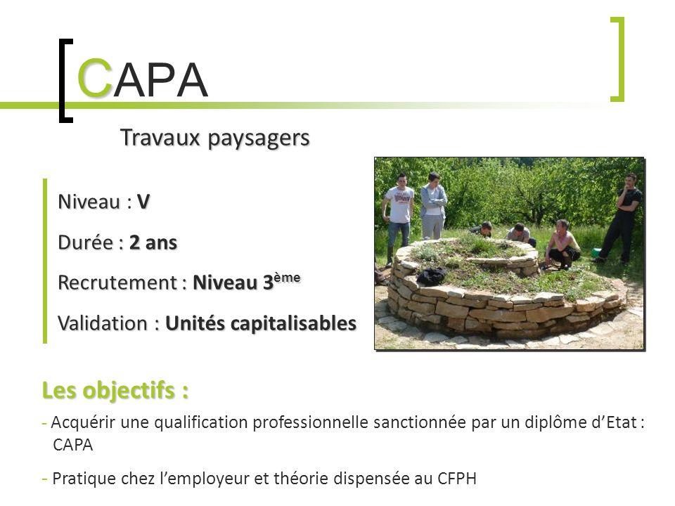 C C APA Travaux paysagers NiveauV Niveau : V Durée :2 ans Durée : 2 ans Recrutement :Niveau 3 ème Recrutement : Niveau 3 ème Validation :Unités capita