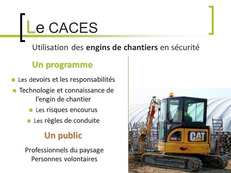 L L e CACES Utilisation des engins de chantiers en sécurité Un programme Un programme Les d evoirs et les responsabilités Les d evoirs et les responsa