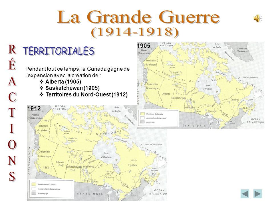Pendant la première guerre mondiale, le Canada a contribué tout de même à leffort de guerre par sa production darmes, de munitions et de blé ainsi que par lenvoi de quelque 400 000 soldats.