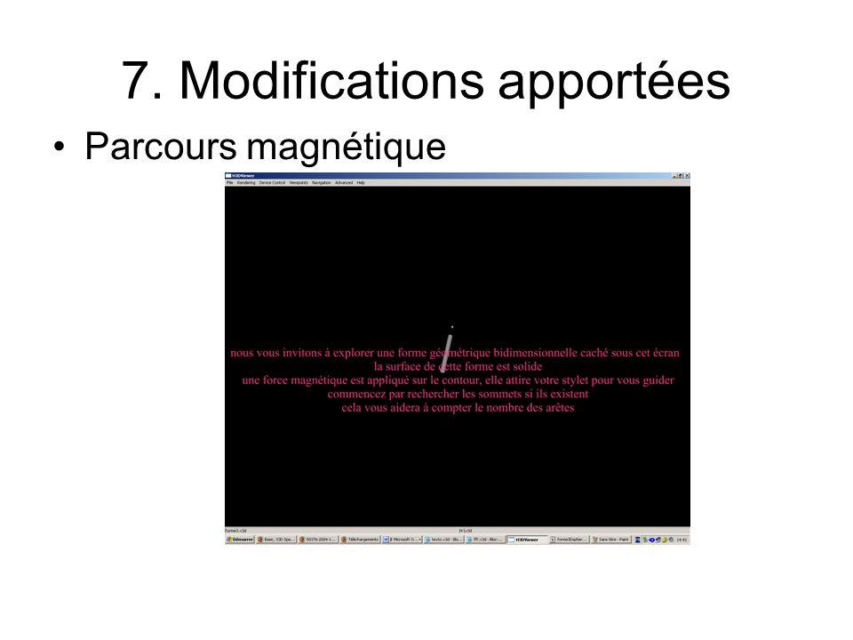 7. Modifications apportées Parcours magnétique