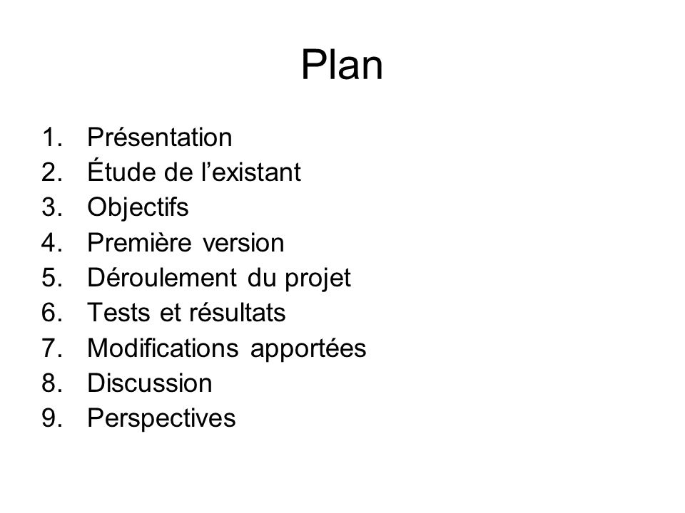 Plan 1.Présentation 2.Étude de lexistant 3.Objectifs 4.Première version 5.Déroulement du projet 6.Tests et résultats 7.Modifications apportées 8.Discussion 9.Perspectives