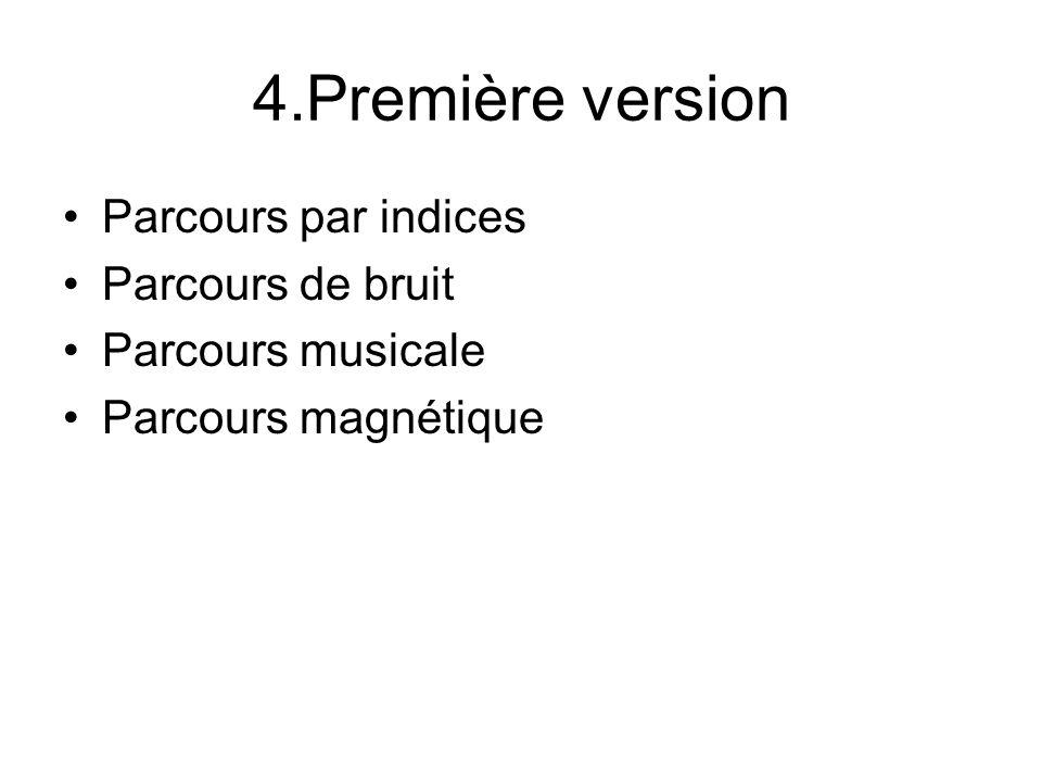 4.Première version Parcours par indices Parcours de bruit Parcours musicale Parcours magnétique