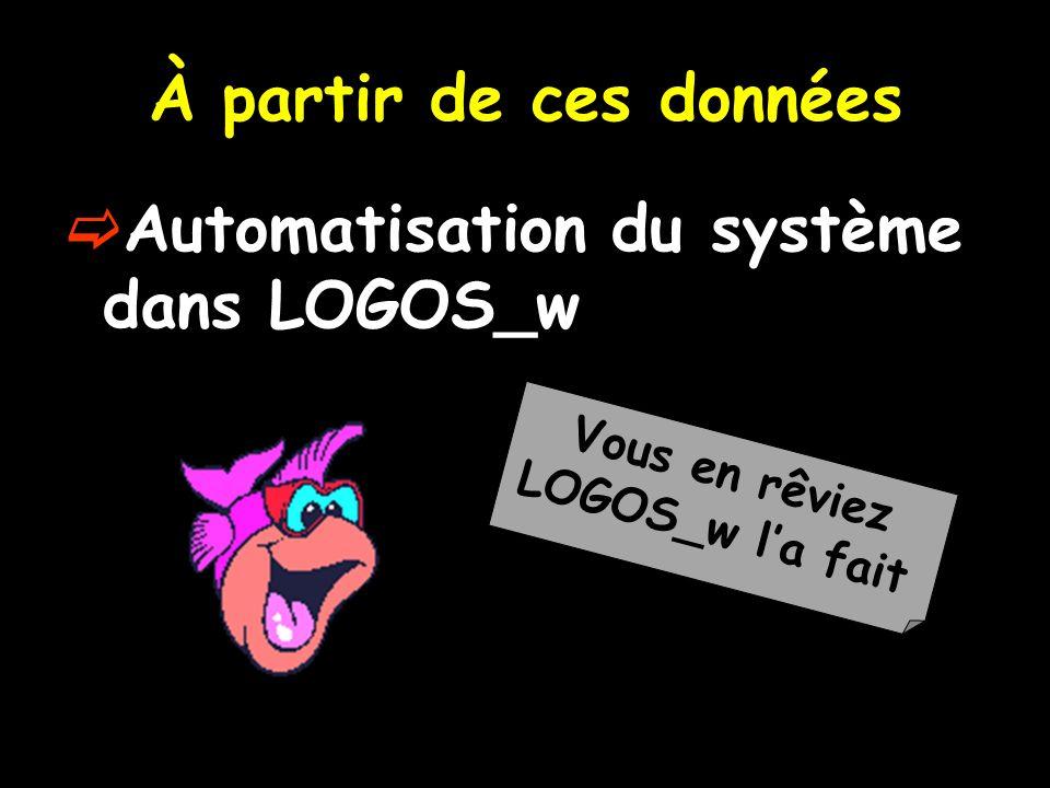 À partir de ces données Automatisation du système dans LOGOS_w Vous en rêviez LOGOS_w la fait
