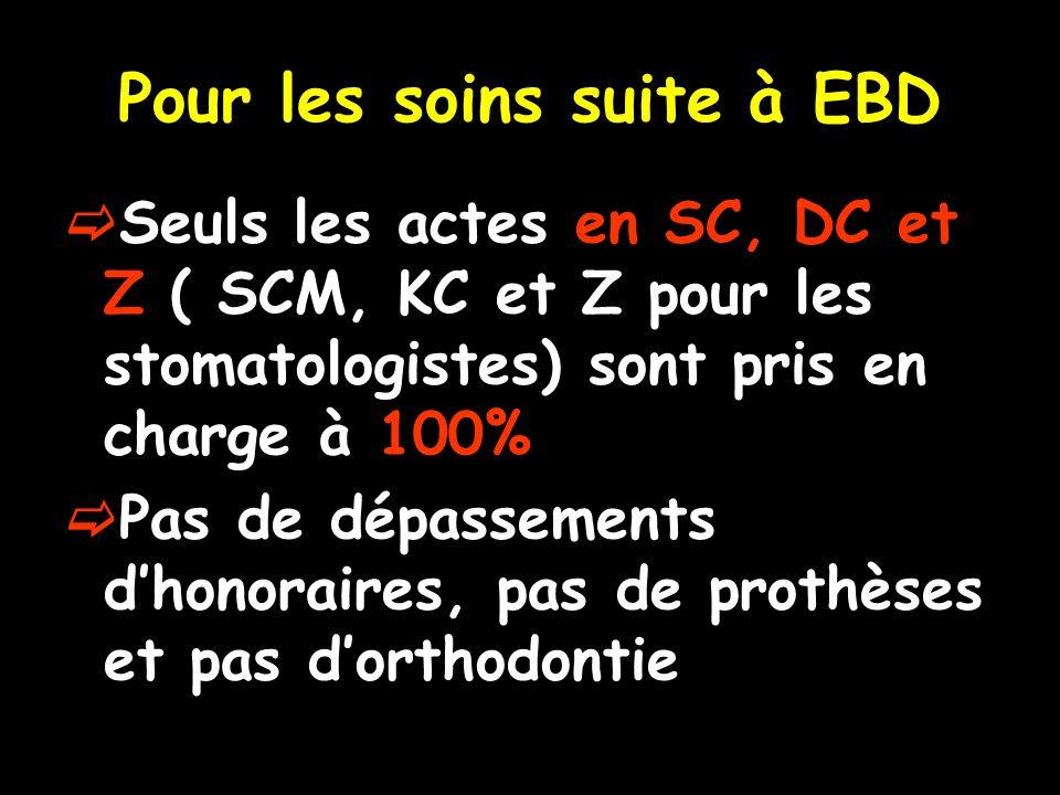 Pour les soins suite à EBD Seuls les actes en SC, DC et Z ( SCM, KC et Z pour les stomatologistes) sont pris en charge à 100% Pas de dépassements dhonoraires, pas de prothèses et pas dorthodontie