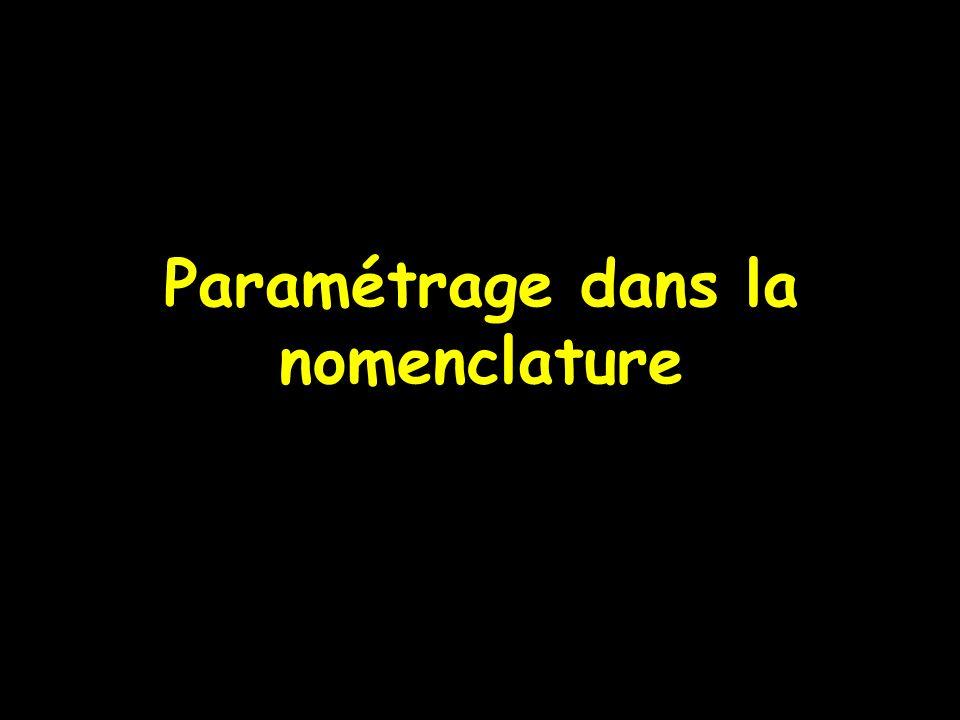 Paramétrage dans la nomenclature