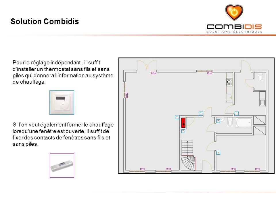 Solution Combidis Pour le réglage indépendant, il suffit dinstaller un thermostat sans fils et sans piles qui donnera linformation au système de chauf