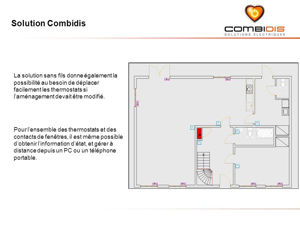 Solution Combidis La solution sans fils donne également la possibilité au besoin de déplacer facilement les thermostats si laménagement devait être modifié.