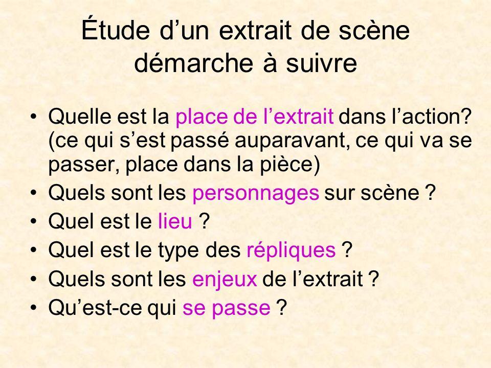 Étude dun extrait de scène démarche à suivre Quelle est la place de lextrait dans laction.