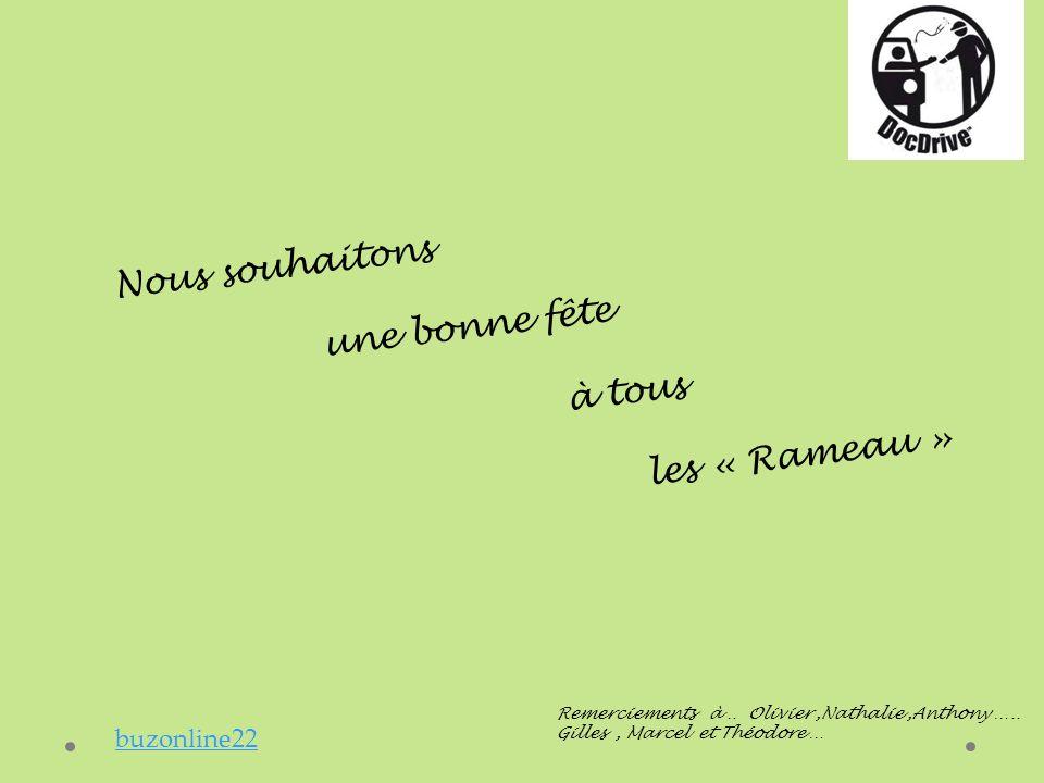 Remerciements à.. Olivier,Nathalie,Anthony ….. Gilles, Marcel et Théodore … Nous souhaitons une bonne fête à tous les « Rameau » buzonline22