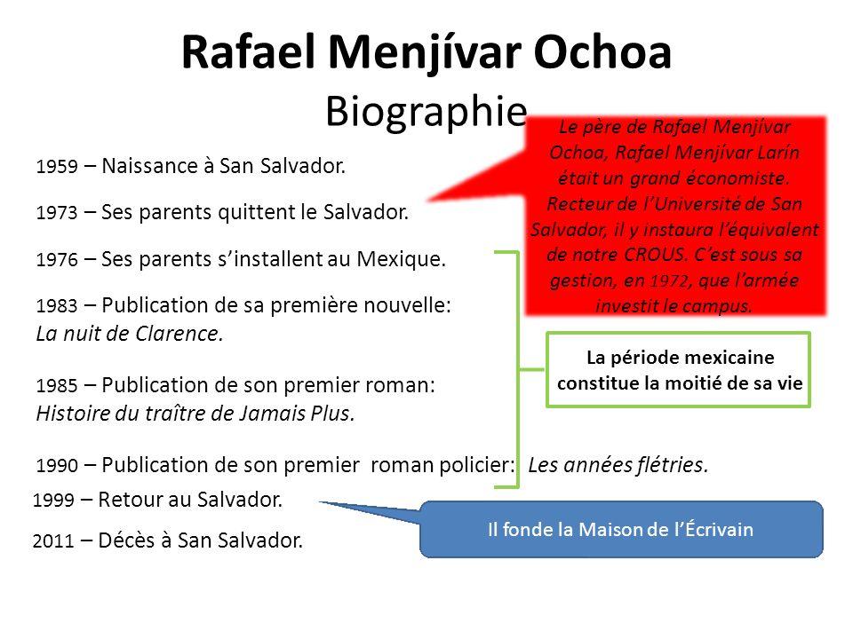 Rafael Menjívar Ochoa Biographie 1959 – Naissance à San Salvador.