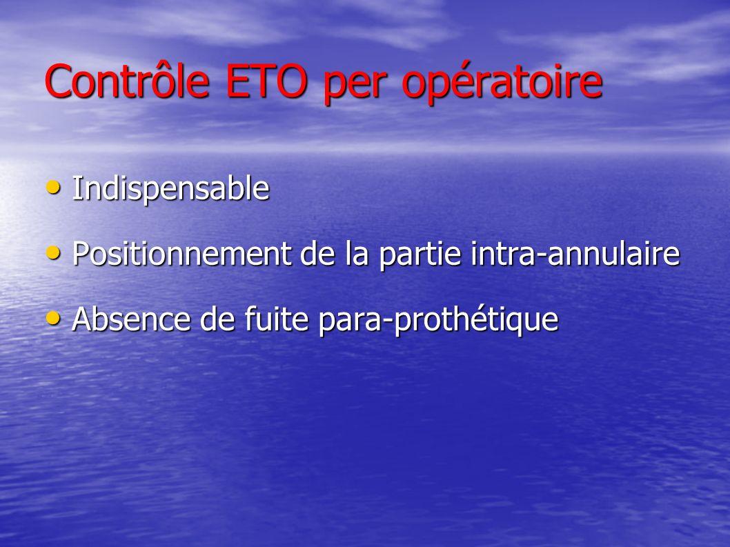 Contrôle ETO per opératoire Indispensable Indispensable Positionnement de la partie intra-annulaire Positionnement de la partie intra-annulaire Absence de fuite para-prothétique Absence de fuite para-prothétique