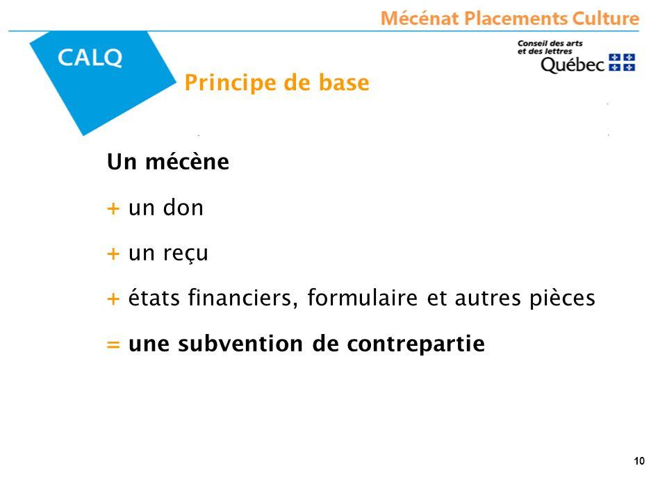 Principe de base Un mécène + un don + un reçu + états financiers, formulaire et autres pièces = une subvention de contrepartie 10