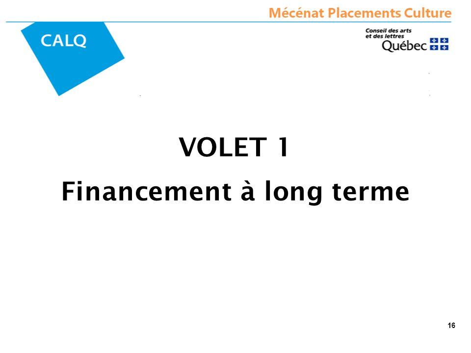 VOLET 1 Financement à long terme 16