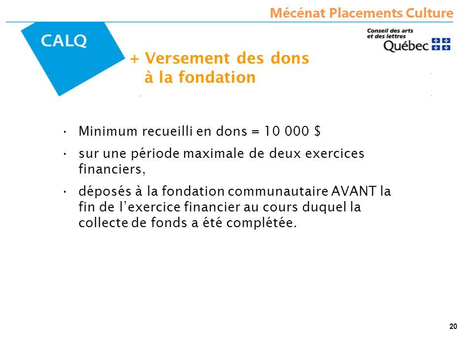 + Versement des dons à la fondation Minimum recueilli en dons = 10 000 $ sur une période maximale de deux exercices financiers, déposés à la fondation communautaire AVANT la fin de lexercice financier au cours duquel la collecte de fonds a été complétée.