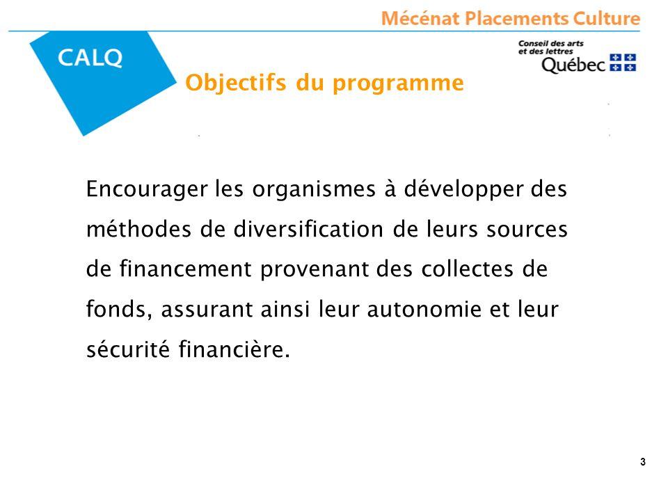 Objectifs du programme Encourager les organismes à développer des méthodes de diversification de leurs sources de financement provenant des collectes de fonds, assurant ainsi leur autonomie et leur sécurité financière.