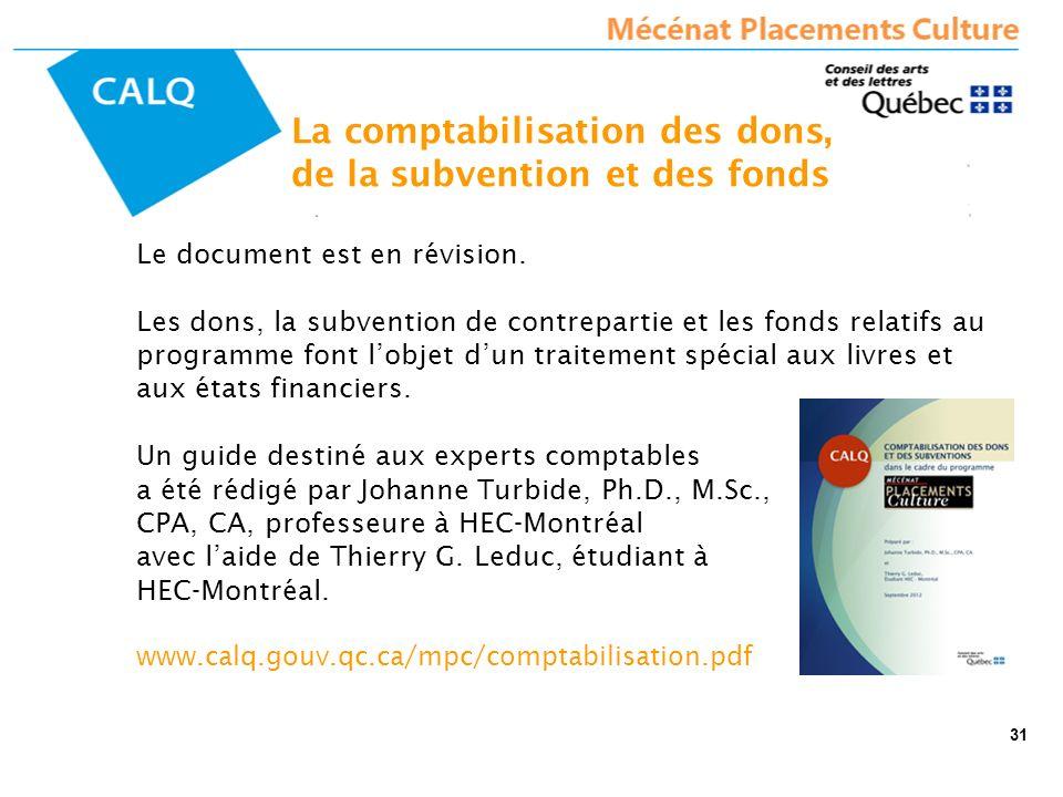 La comptabilisation des dons, de la subvention et des fonds Le document est en révision. Les dons, la subvention de contrepartie et les fonds relatifs