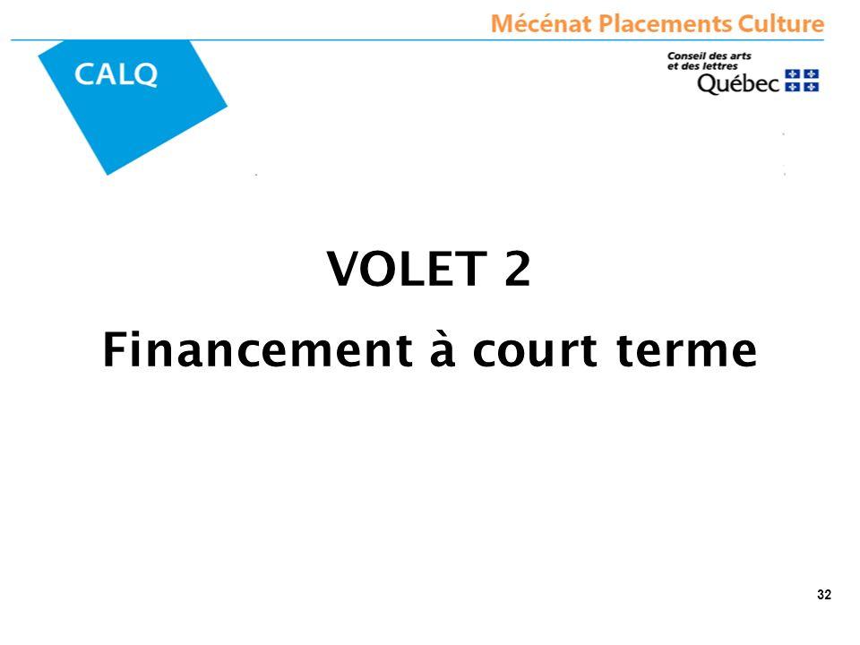 VOLET 2 Financement à court terme 32