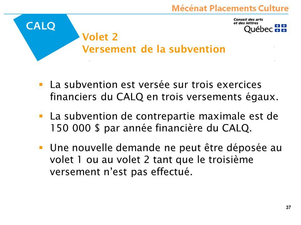 La subvention est versée sur trois exercices financiers du CALQ en trois versements égaux.