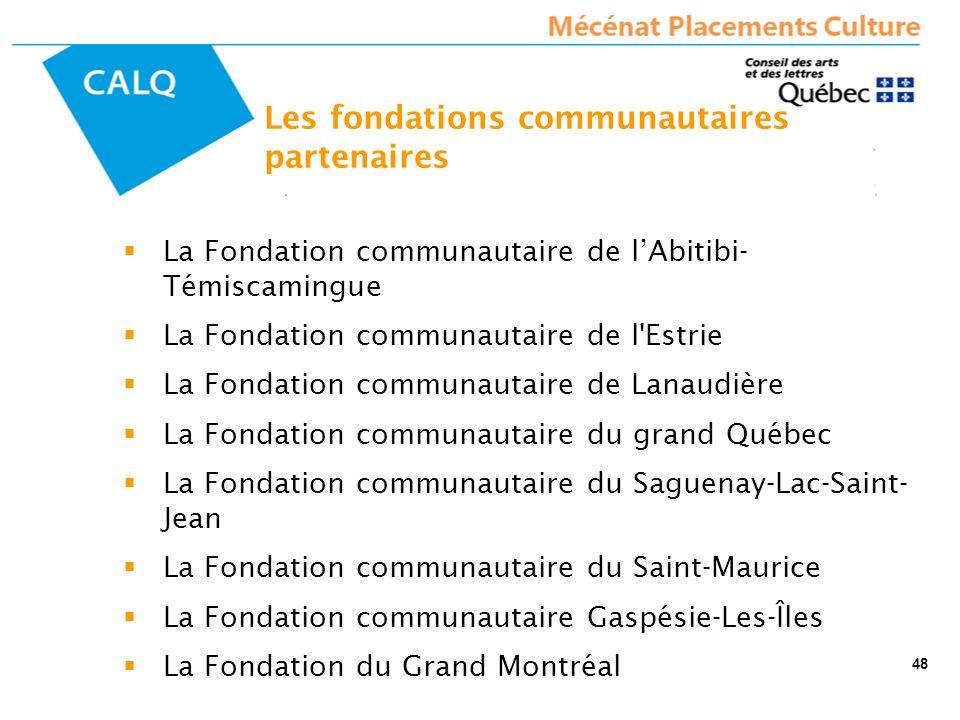 La Fondation communautaire de lAbitibi- Témiscamingue La Fondation communautaire de l'Estrie La Fondation communautaire de Lanaudière La Fondation com
