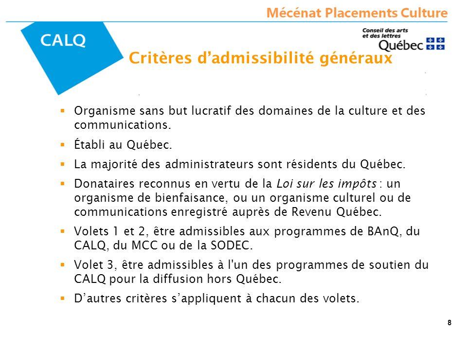 Critères dadmissibilité généraux Organisme sans but lucratif des domaines de la culture et des communications. Établi au Québec. La majorité des admin