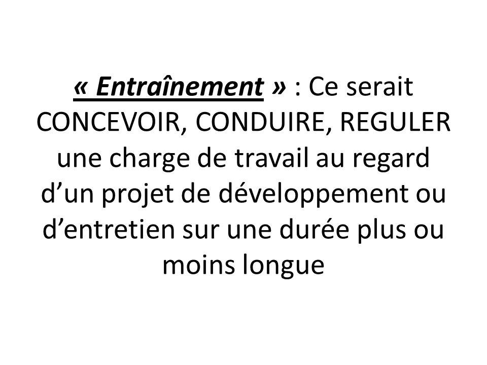 « Entraînement » : Ce serait CONCEVOIR, CONDUIRE, REGULER une charge de travail au regard dun projet de développement ou dentretien sur une durée plus