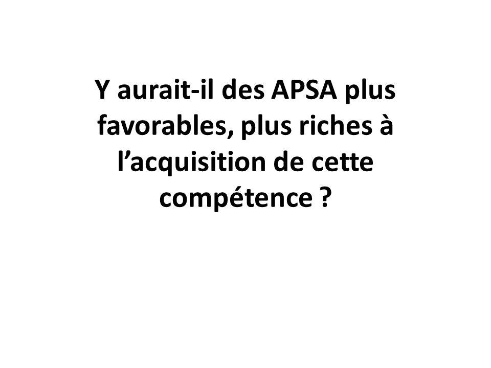 Y aurait-il des APSA plus favorables, plus riches à lacquisition de cette compétence ?