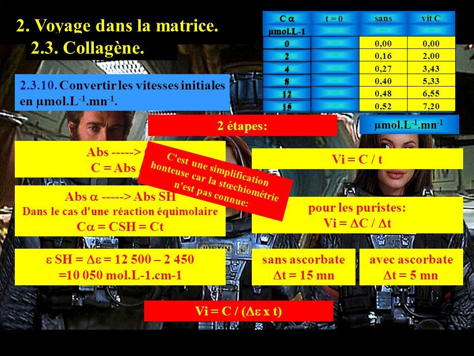 2.3.10 1. Prologue. 2. Voyage dans la matrice. 2.2. Hyaluronate.2.3. Collagène. 2.3.10. Convertir les vitesses initiales en µmol.L -1.mn -1. 2 étapes: