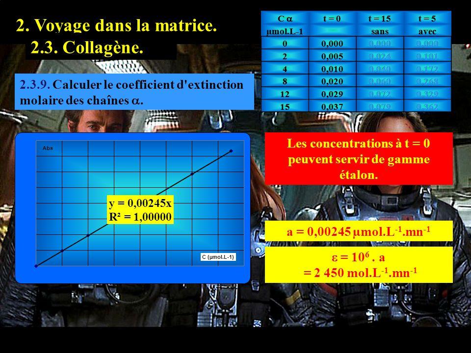 2.3.9 1. Prologue. 2. Voyage dans la matrice. 2.2. Hyaluronate.2.3. Collagène. 2.3.9. Calculer le coefficient d'extinction molaire des chaînes. Les co
