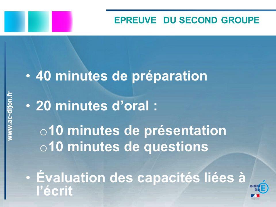EPREUVE DU SECOND GROUPE 40 minutes de préparation 20 minutes doral : o 10 minutes de présentation o 10 minutes de questions Évaluation des capacités liées à lécrit