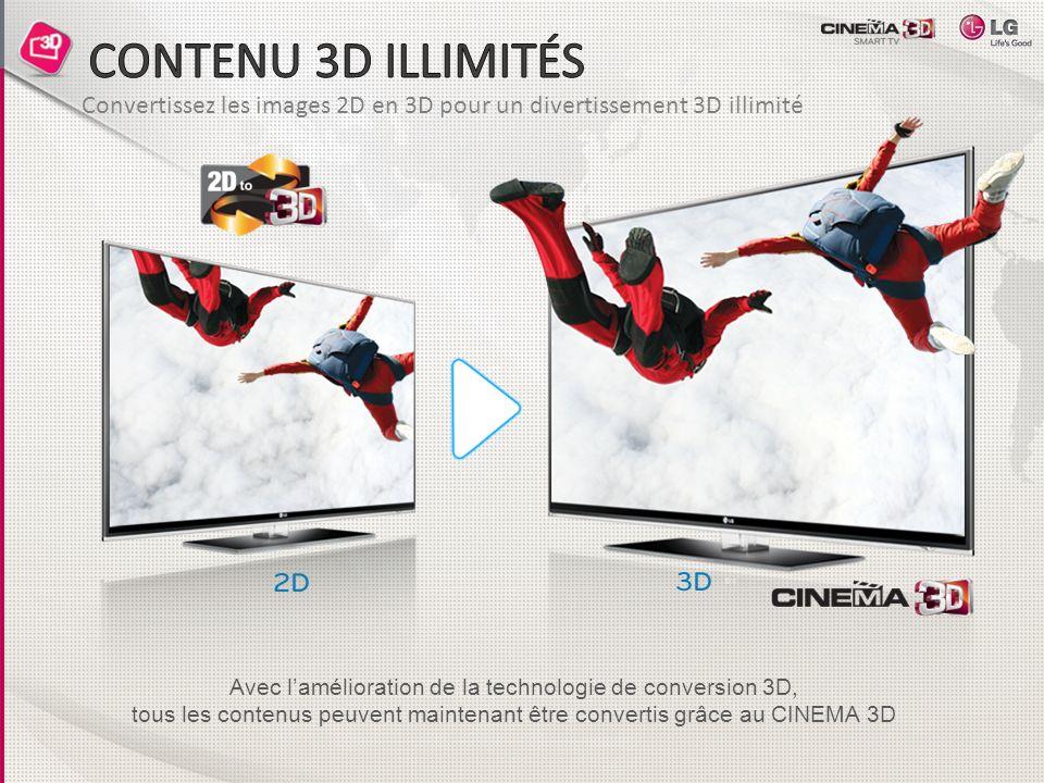 Convertissez les images 2D en 3D pour un divertissement 3D illimité Avec lamélioration de la technologie de conversion 3D, tous les contenus peuvent m