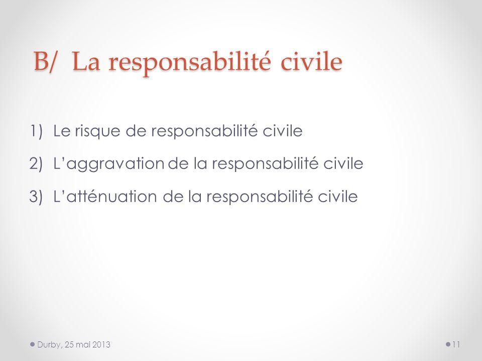 B/ La responsabilité civile 1)Le risque de responsabilité civile 2)Laggravation de la responsabilité civile 3)Latténuation de la responsabilité civile Durby, 25 mai 201311