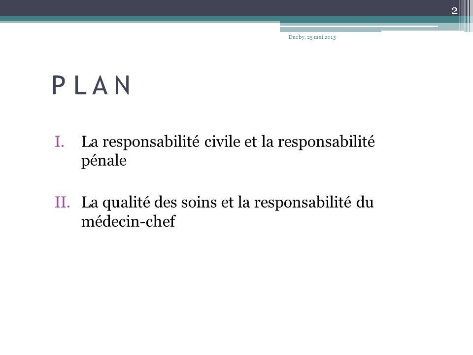 P L A N I.La responsabilité civile et la responsabilité pénale II.La qualité des soins et la responsabilité du médecin-chef Durby, 25 mai 2013 2