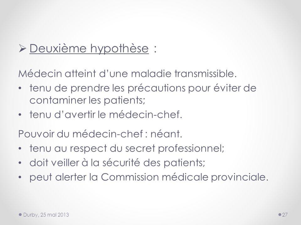 Deuxième hypothèse : Médecin atteint dune maladie transmissible.