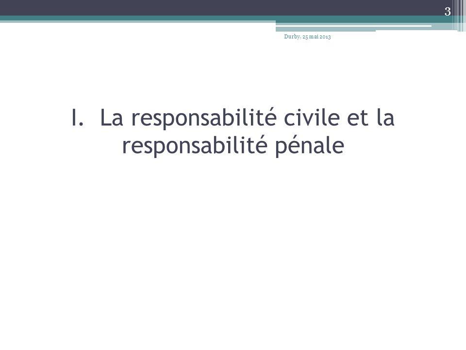 I. La responsabilité civile et la responsabilité pénale Durby, 25 mai 2013 3