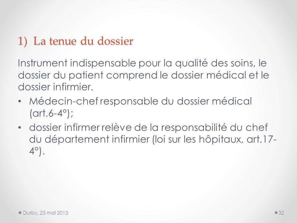 1) La tenue du dossier Instrument indispensable pour la qualité des soins, le dossier du patient comprend le dossier médical et le dossier infirmier.