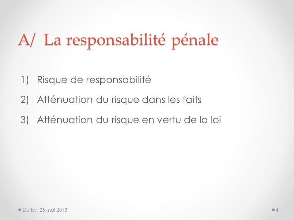 A/ La responsabilité pénale 1)Risque de responsabilité 2)Atténuation du risque dans les faits 3)Atténuation du risque en vertu de la loi Durby, 25 mai 20134