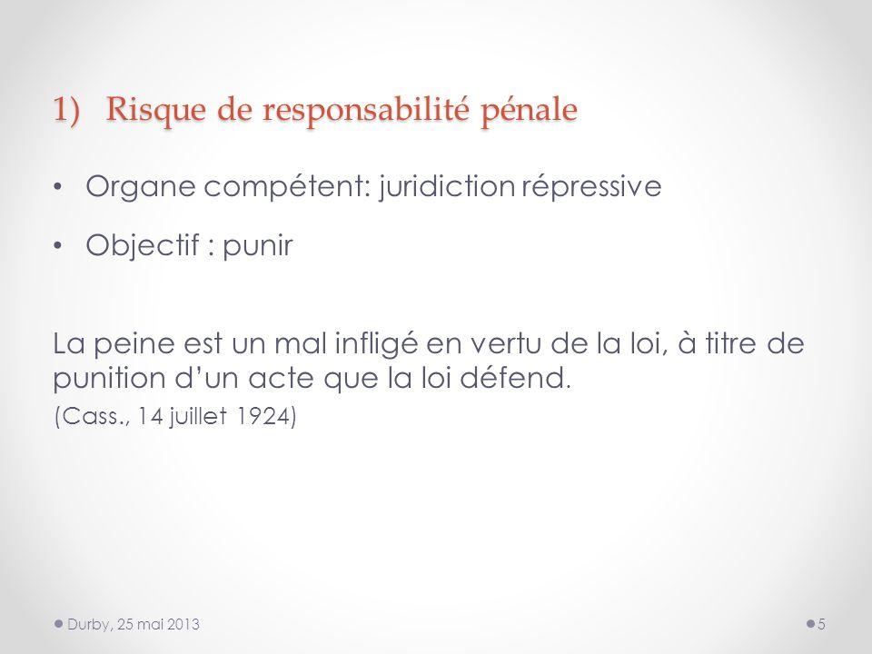 1) Risque de responsabilité pénale Organe compétent: juridiction répressive Objectif : punir La peine est un mal infligé en vertu de la loi, à titre de punition dun acte que la loi défend.