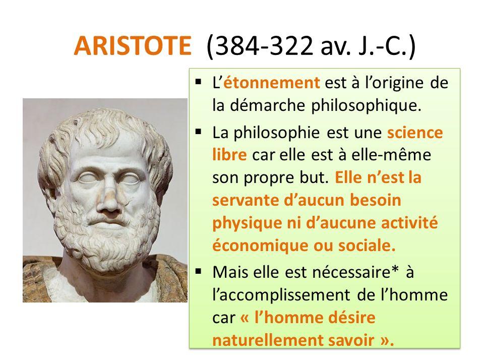 ARISTOTE (384-322 av. J.-C.) Létonnement est à lorigine de la démarche philosophique.