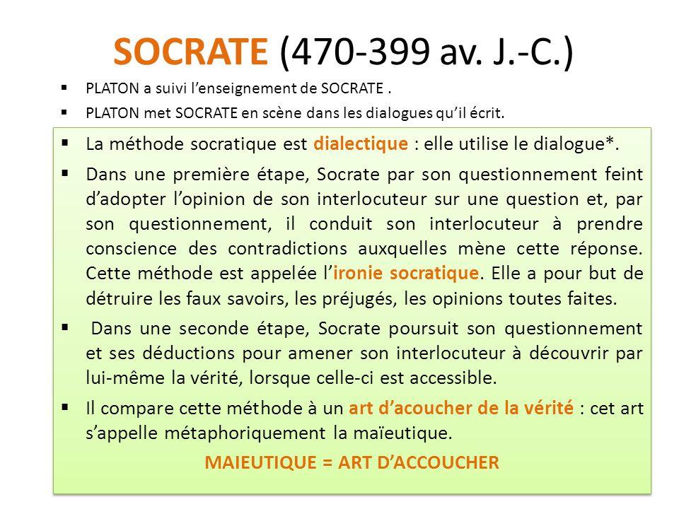 SOCRATE (470-399 av. J.-C.) La méthode socratique est dialectique : elle utilise le dialogue*.
