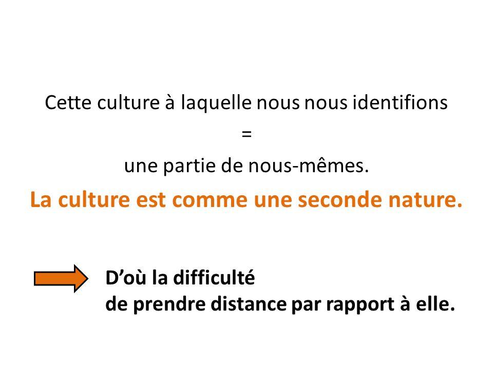 Cette culture à laquelle nous nous identifions = une partie de nous-mêmes.