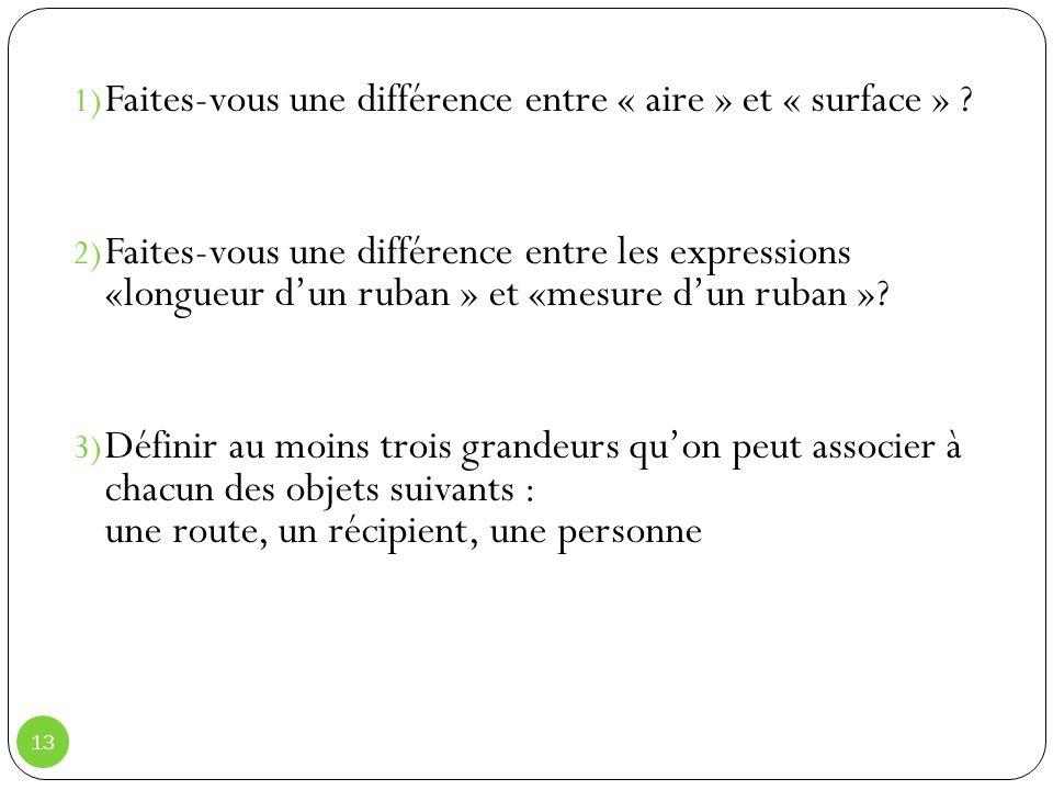 13 1) Faites-vous une différence entre « aire » et « surface » .