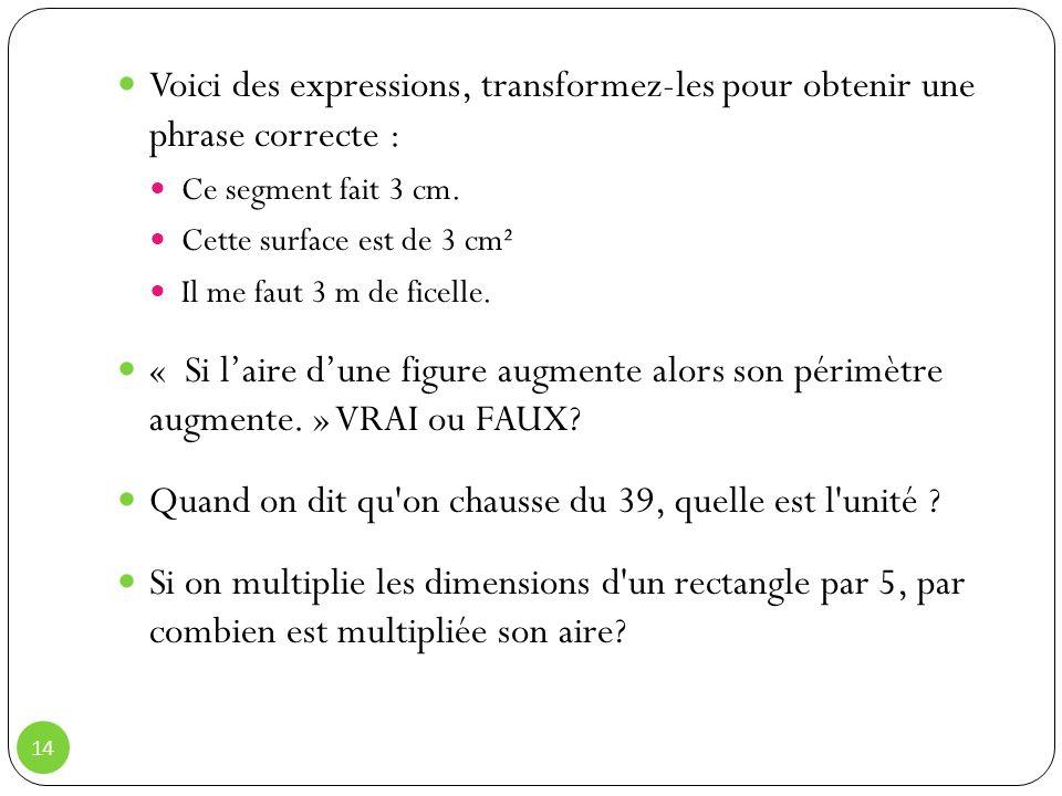 Voici des expressions, transformez-les pour obtenir une phrase correcte : Ce segment fait 3 cm.