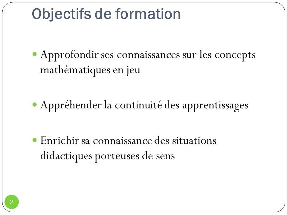 Objectifs de formation Approfondir ses connaissances sur les concepts mathématiques en jeu Appréhender la continuité des apprentissages Enrichir sa connaissance des situations didactiques porteuses de sens 2