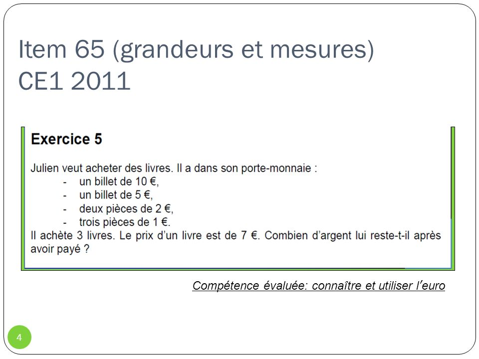 Item 80 (grandeurs et mesure) CE1 2011 5 Compétence évaluée: connaître la relation entre heure et minute