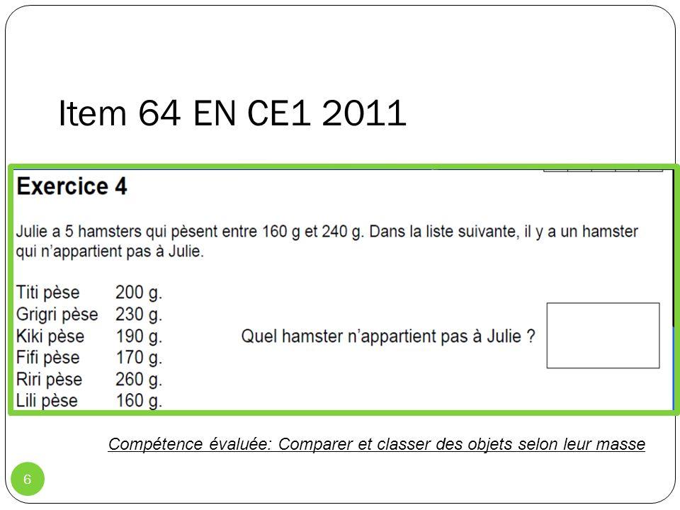 6 Item 65 EN CE1 2011: 37,2 % Item 64 EN CE1 2011 Compétence évaluée: Comparer et classer des objets selon leur masse