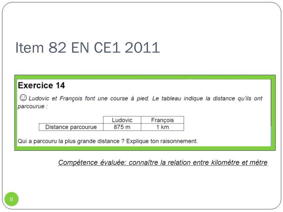 Item 98 (grandeurs et mesures) CM2 2011 9 Compétence évaluée: Résoudre des problèmes dont la résolution implique des conversions