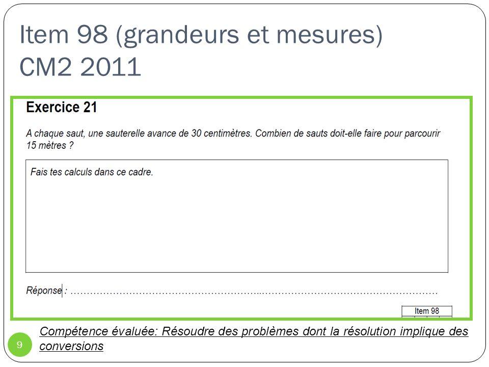 Item 77 (grandeurs et mesures) CM2 2011 10 Compétence évaluée: Lire lheure sur une montre à aiguilles